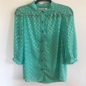 F21 CHIFFON GOLD SEA FOAM BLOUSE